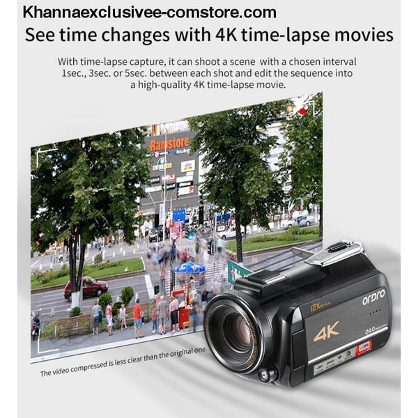 New Arrival 4k WIFI with 3.0 Touch Display 12x Optical Zoom Professional Digital Video Camcorder - New Arrival 4k WIFI with 3.0 Touch