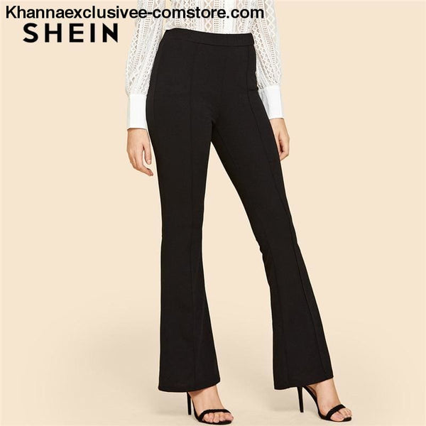 New Arrival Ladies Solid Contrast Binding Flare Leg Elastic Waist Elegant Pants Office Trouser Pant - New Arrival Black Vintage Solid