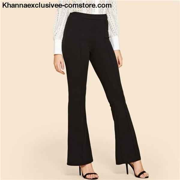 New Arrival Ladies Solid Contrast Binding Flare Leg Elastic Waist Elegant Pants Office Trouser Pant - Black / XS - New Arrival Black Vintage