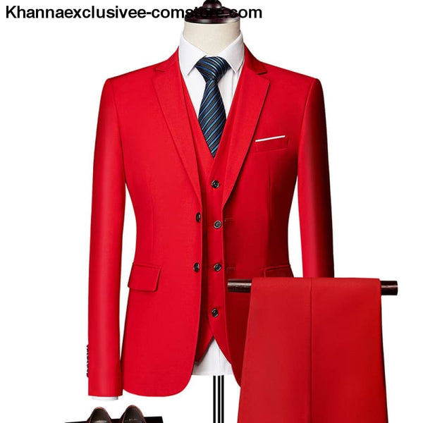 New Classic Men Formal Business Suit (Blazer+Pants+Vest) Wedding Gentlemen Party Costume - New Classic Men Formal Business Suit