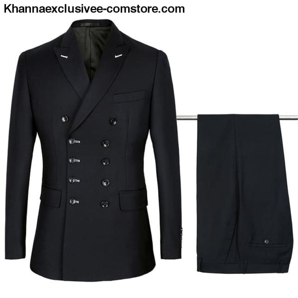 New Double Breasted Suits Mens Wedding Suits sets 2 pieces Men Costume Marriage Slim Fit Suit - Black / S - New Double Breasted Suits Mens