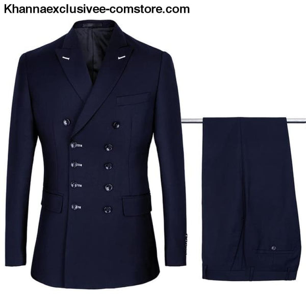New Double Breasted Suits Mens Wedding Suits sets 2 pieces Men Costume Marriage Slim Fit Suit - Navy Blue / S - New Double Breasted Suits