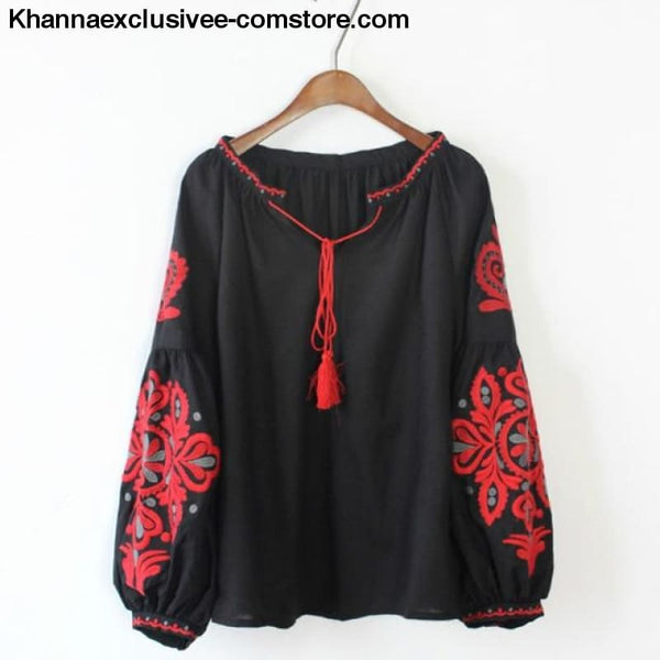 New Ethnic Embroidery Floral Blouse Ladies Long Sleeve Shirt Vintage Tassel Lace Up Collar Blouse - Black / One Size - New Ethnic Embroidery