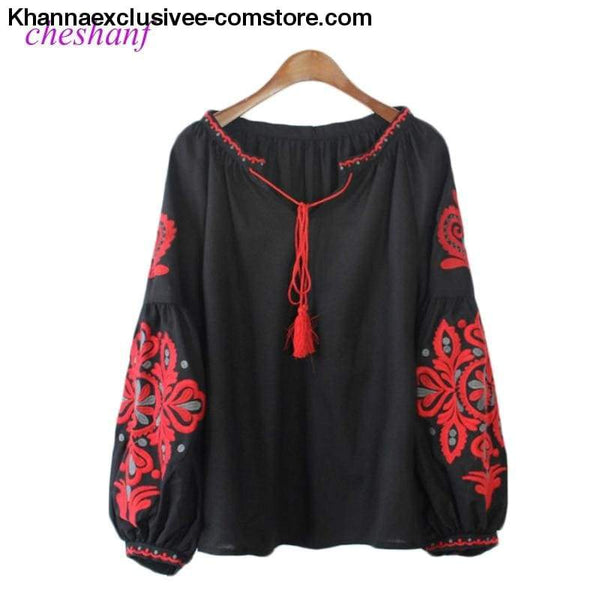 New Ethnic Embroidery Floral Blouse Ladies Long Sleeve Shirt Vintage Tassel Lace Up Collar Blouse - New Ethnic Embroidery Floral Blouse