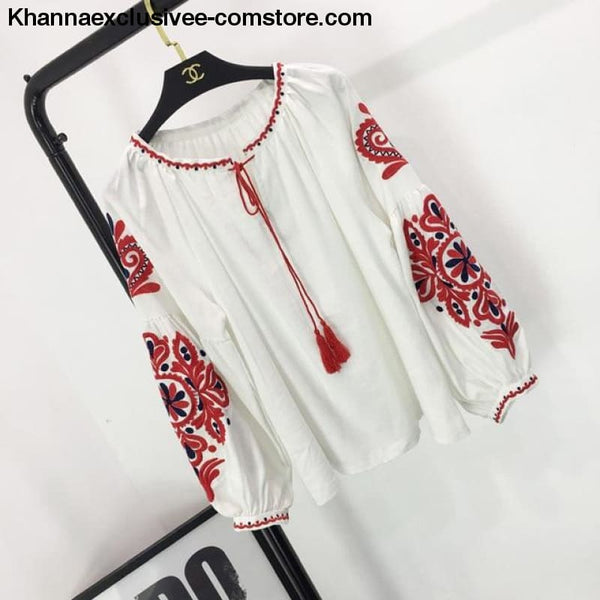 New Ethnic Embroidery Floral Blouse Ladies Long Sleeve Shirt Vintage Tassel Lace Up Collar Blouse - White / One Size - New Ethnic Embroidery