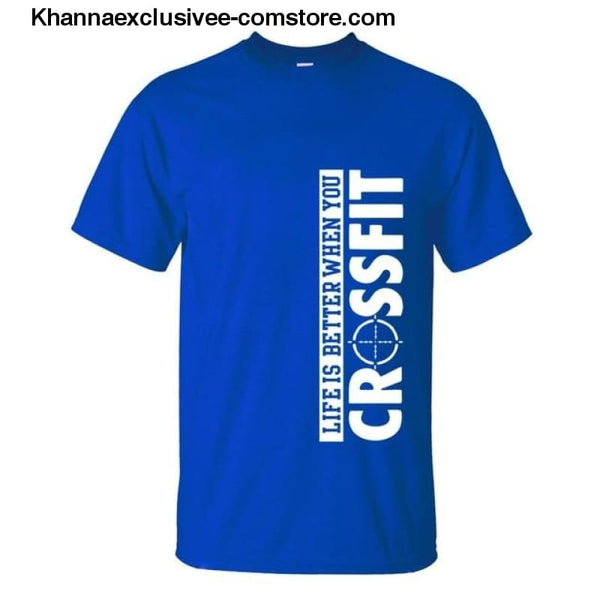 New Fashion Mens Printed Life Is Better When You Crossfit Cotton Comfortable loose fit T-Shirt - blue / S - New Fashion Mens T-Shirt Printed