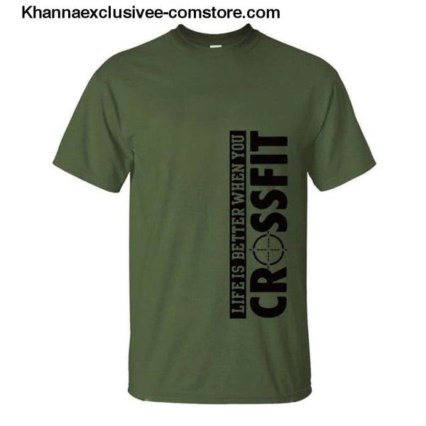 New Fashion Mens Printed Life Is Better When You Crossfit Cotton Comfortable loose fit T-Shirt - dark green 1 / S - New Fashion Mens T-Shirt