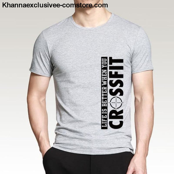 New Fashion Mens Printed Life Is Better When You Crossfit Cotton Comfortable loose fit T-Shirt - Gray / S - New Fashion Mens T-Shirt Printed