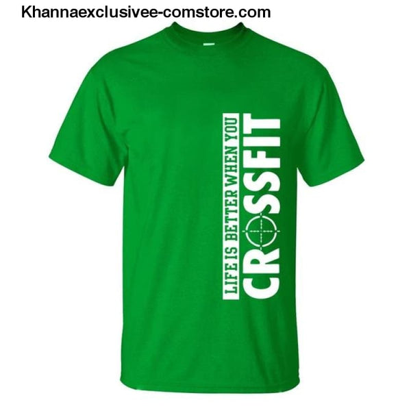 New Fashion Mens Printed Life Is Better When You Crossfit Cotton Comfortable loose fit T-Shirt - green / S - New Fashion Mens T-Shirt