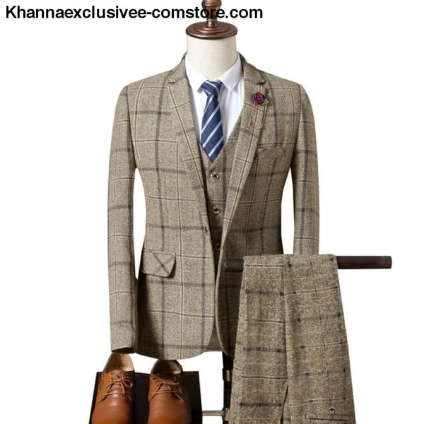 New Fashionable plaid Mens Suit (Jacket+Pant+Vest) Business Elegant Party Comfortable Costume - Khaki / S - New Fashionable plaid Mens Suits