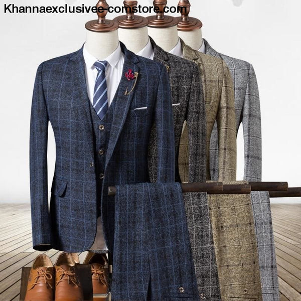 New Fashionable plaid Mens Suit (Jacket+Pant+Vest) Business Elegant Party Comfortable Costume - New Fashionable plaid Mens Suits Jackets +
