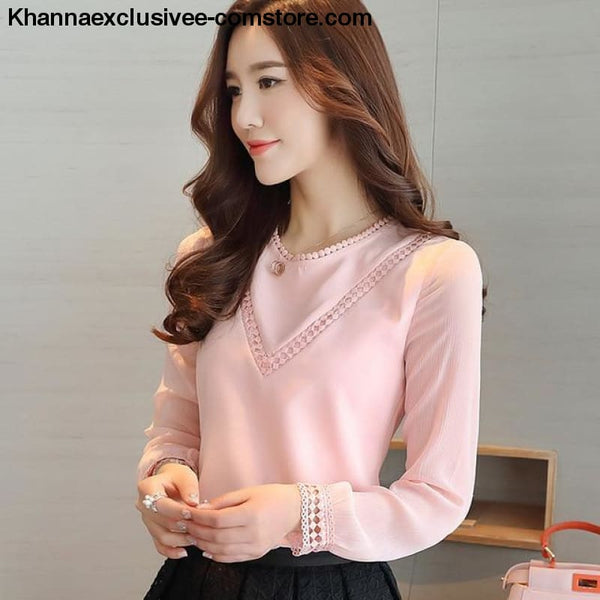 New Fashionable womens blouse long sleeve chiffon shirt casual tops - Pink / L - New Fashionable womens blouse long sleeve chiffon shirt