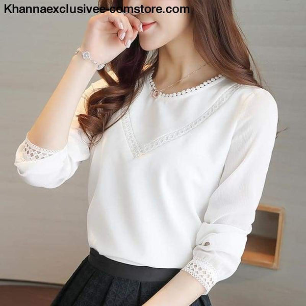 New Fashionable womens blouse long sleeve chiffon shirt casual tops - WHITE / L - New Fashionable womens blouse long sleeve chiffon shirt