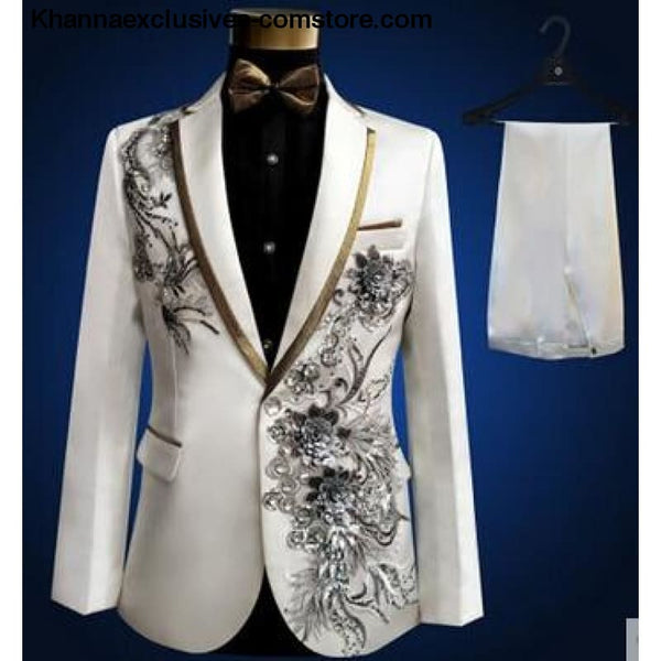 New (jacket+pants+bow tie) male suit set crystals white stones formal groom party dress - 1 / S - New (jacket+pants+bow tie) male suit set
