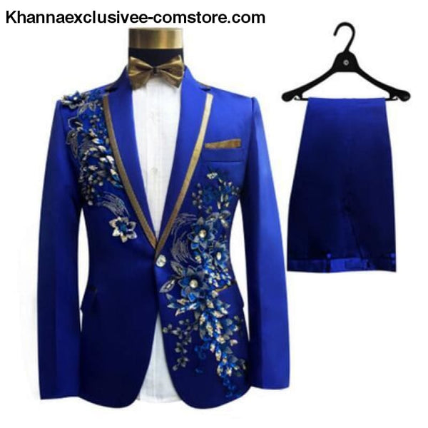 New (jacket+pants+bow tie) male suit set crystals white stones formal groom party dress - 2 / S - New (jacket+pants+bow tie) male suit set