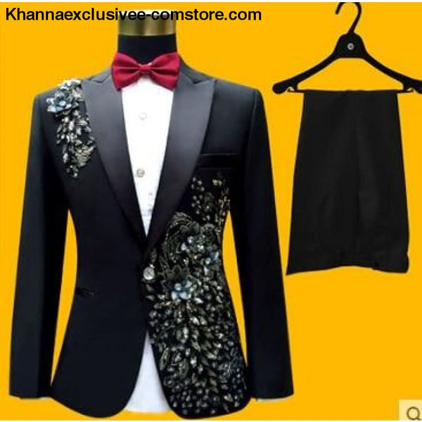 New (jacket+pants+bow tie) male suit set crystals white stones formal groom party dress - 3 / S - New (jacket+pants+bow tie) male suit set