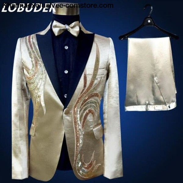 New (jacket+pants+bow tie) male suit set crystals white stones formal groom party dress - 4 / S - New (jacket+pants+bow tie) male suit set
