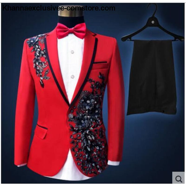 New (jacket+pants+bow tie) male suit set crystals white stones formal groom party dress - 5 / S - New (jacket+pants+bow tie) male suit set