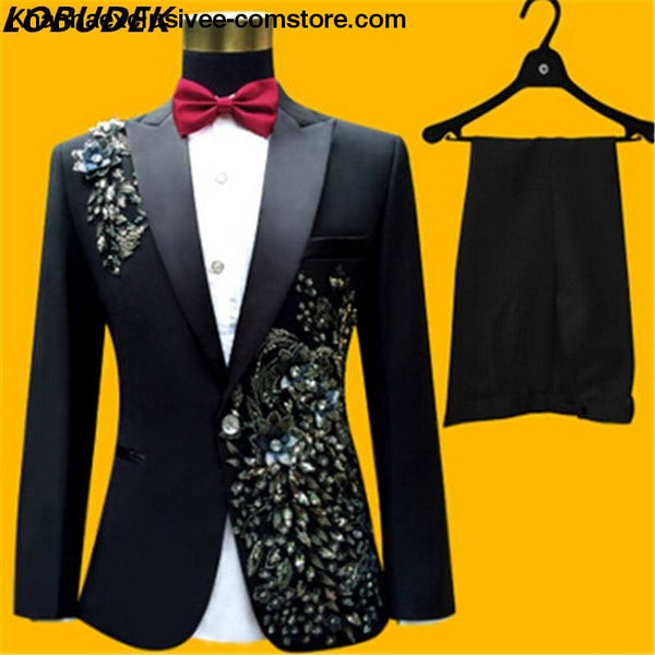 New (jacket+pants+bow tie) male suit set crystals white stones formal groom party dress - New (jacket+pants+bow tie) male suit set blazer