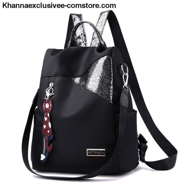 New Ladies backpack anti-theft Oxford cloth tarpaulin stitching sequins college bag purse - black - New Ladies backpack anti-theft Oxford