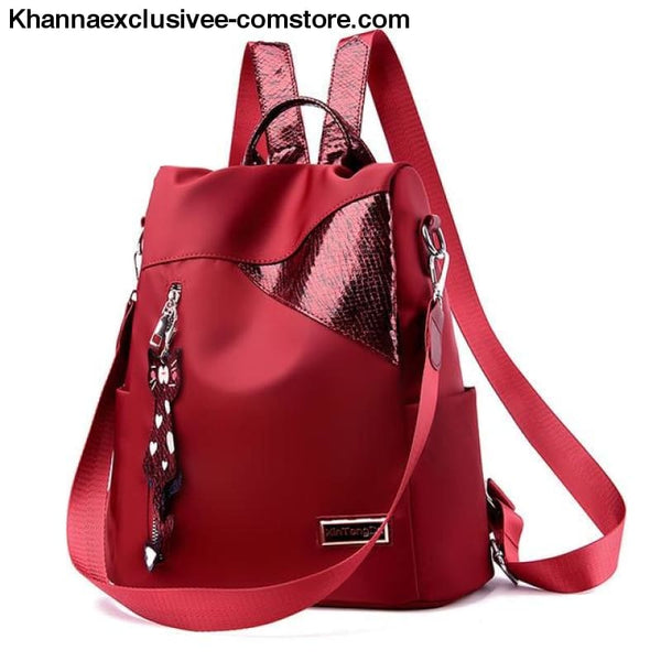 New Ladies backpack anti-theft Oxford cloth tarpaulin stitching sequins college bag purse - red - New Ladies backpack anti-theft Oxford