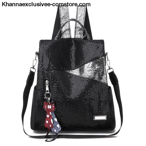 New Ladies backpack anti-theft Oxford cloth tarpaulin stitching sequins college bag purse - Sequin - New Ladies backpack anti-theft Oxford