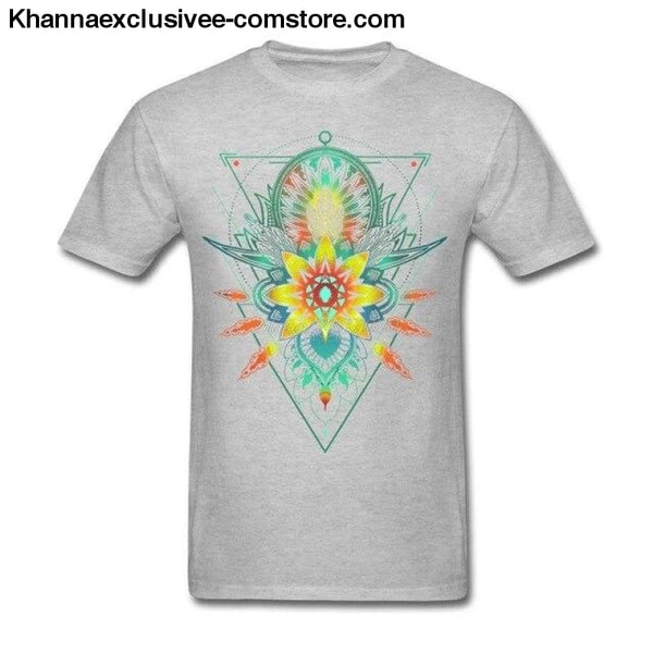 New Mens Cotton T Shirt Geometric Triangle Mandala Ornament Lotus Flower Great Design T Shirt - Gray / S - New Mens Cotton T Shirt Geometric