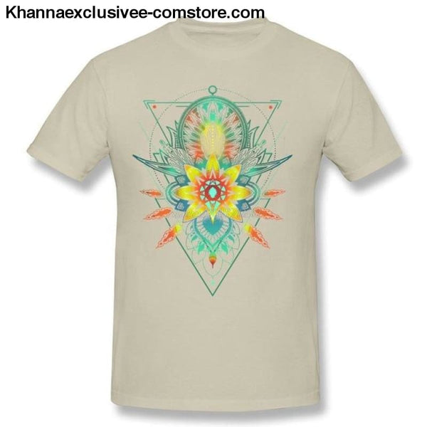New Mens Cotton T Shirt Geometric Triangle Mandala Ornament Lotus Flower Great Design T Shirt - Natural / S - New Mens Cotton T Shirt