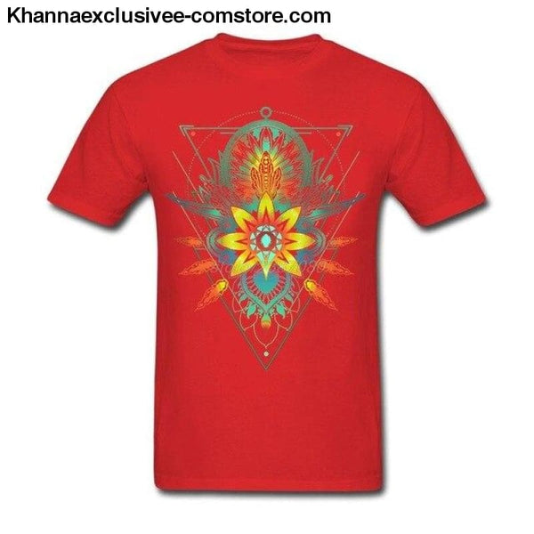 New Mens Cotton T Shirt Geometric Triangle Mandala Ornament Lotus Flower Great Design T Shirt - Red / S - New Mens Cotton T Shirt Geometric