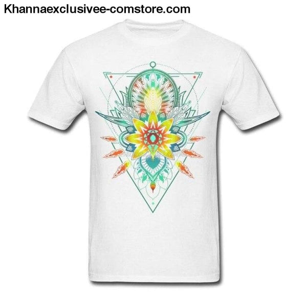New Mens Cotton T Shirt Geometric Triangle Mandala Ornament Lotus Flower Great Design T Shirt - White / S - New Mens Cotton T Shirt