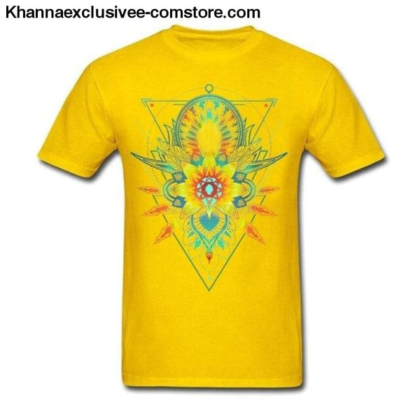 New Mens Cotton T Shirt Geometric Triangle Mandala Ornament Lotus Flower Great Design T Shirt - Yellow / S - New Mens Cotton T Shirt