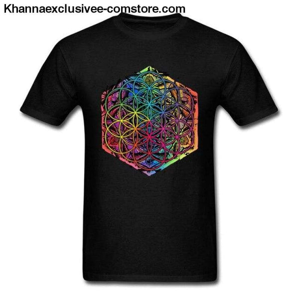 New Coming Sacred Geometry Flower of Life Mandala different Color Family Men T-shirt Short Sleeve Unique Tops Tee Shirts - Black / S - New