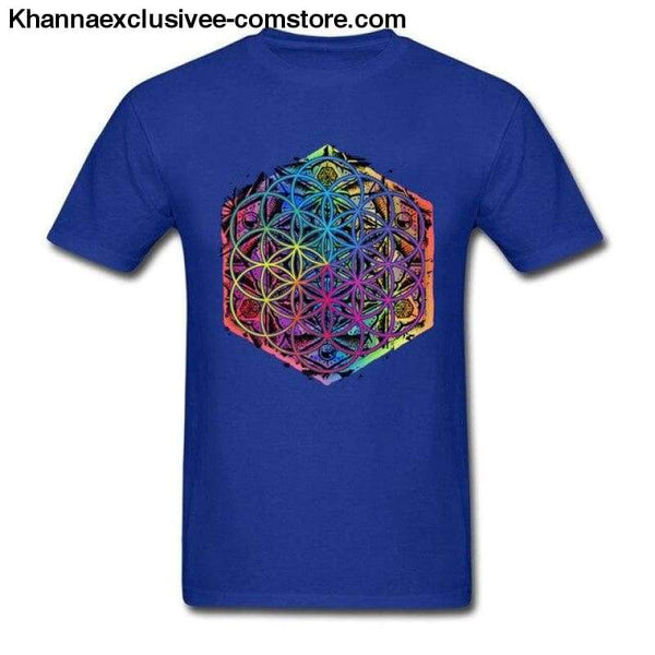 New Coming Sacred Geometry Flower of Life Mandala different Color Family Men T-shirt Short Sleeve Unique Tops Tee Shirts - Blue / S - New