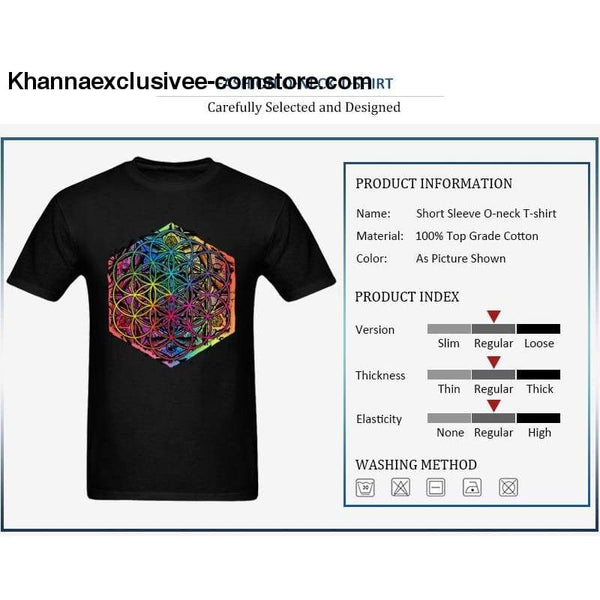 New Coming Sacred Geometry Flower of Life Mandala different Color Family Men T-shirt Short Sleeve Unique Tops Tee Shirts - New Coming Sacred