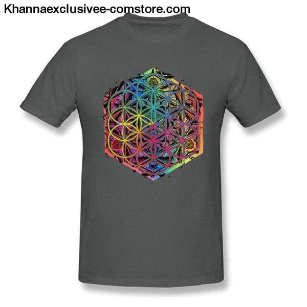 New Coming Sacred Geometry Flower of Life Mandala different Color Family Men T-shirt Short Sleeve Unique Tops Tee Shirts - Dark Grey / S -