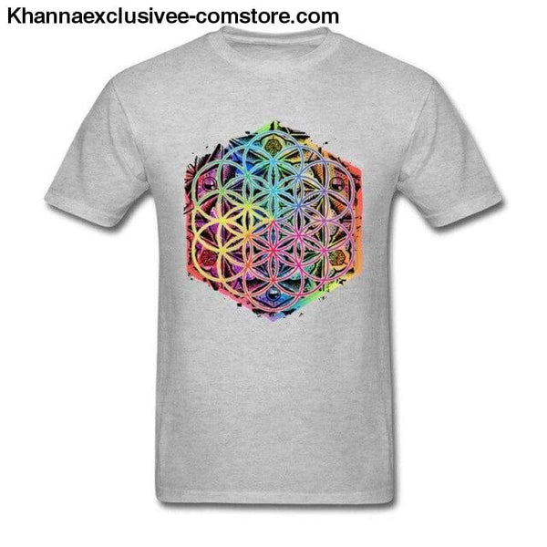 New Coming Sacred Geometry Flower of Life Mandala different Color Family Men T-shirt Short Sleeve Unique Tops Tee Shirts - Gray / S - New