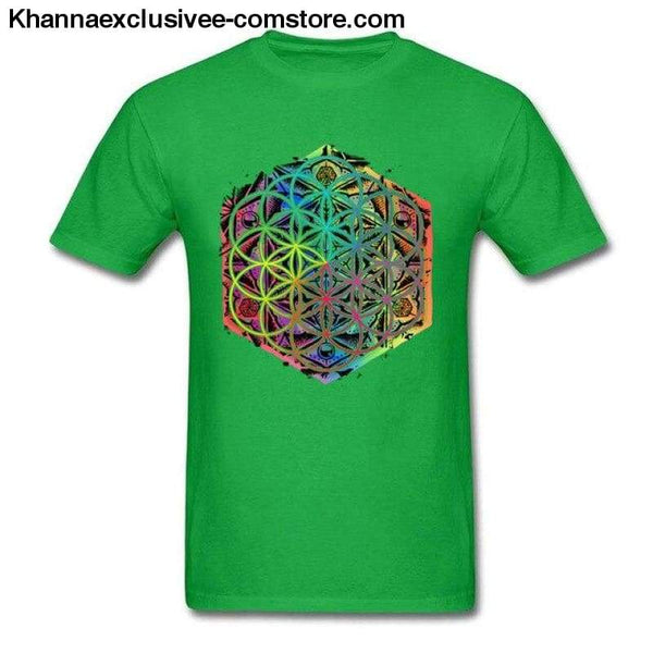 New Coming Sacred Geometry Flower of Life Mandala different Color Family Men T-shirt Short Sleeve Unique Tops Tee Shirts - Green / S - New