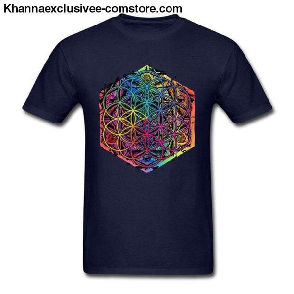 New Coming Sacred Geometry Flower of Life Mandala different Color Family Men T-shirt Short Sleeve Unique Tops Tee Shirts - Navy Blue / S -