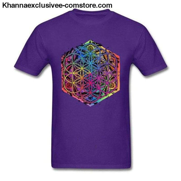 New Coming Sacred Geometry Flower of Life Mandala different Color Family Men T-shirt Short Sleeve Unique Tops Tee Shirts - Purple / S - New