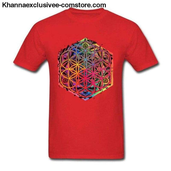 New Coming Sacred Geometry Flower of Life Mandala different Color Family Men T-shirt Short Sleeve Unique Tops Tee Shirts - Red / S - New