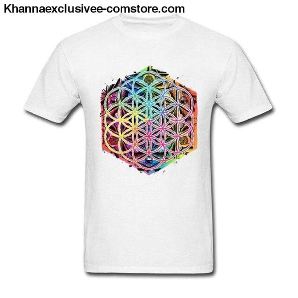 New Coming Sacred Geometry Flower of Life Mandala different Color Family Men T-shirt Short Sleeve Unique Tops Tee Shirts - White / S - New