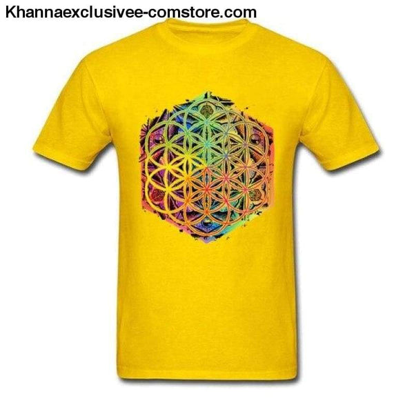 New Coming Sacred Geometry Flower of Life Mandala different Color Family Men T-shirt Short Sleeve Unique Tops Tee Shirts - Yellow / S - New