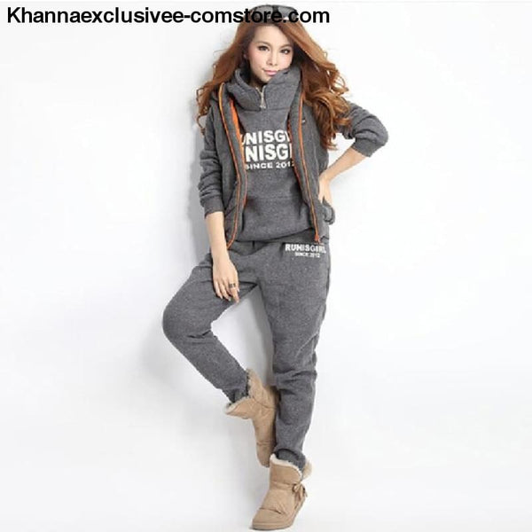 New Sports 3 Piece Hoodies Suit Thick Female Furring Casual outfit Set in Plus Size till 6XL - 0175-Dark Gray / XXL - New Hot Sports 3 Piece