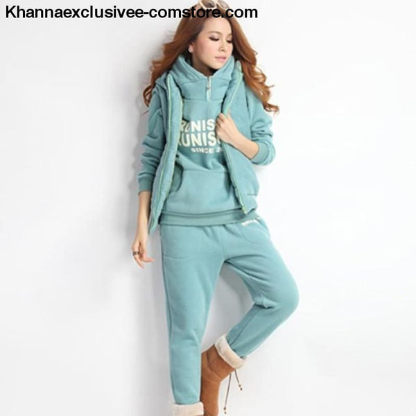 New Sports 3 Piece Hoodies Suit Thick Female Furring Casual outfit Set in Plus Size till 6XL - 0175-Light Green / XXL - New Hot Sports 3