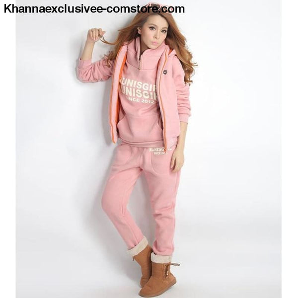 New Sports 3 Piece Hoodies Suit Thick Female Furring Casual outfit Set in Plus Size till 6XL - 0175-Pink / XXL - New Hot Sports 3 Piece