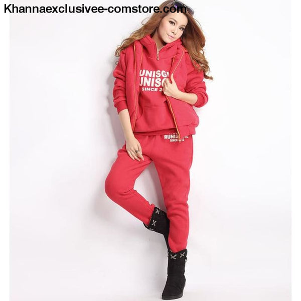 New Sports 3 Piece Hoodies Suit Thick Female Furring Casual outfit Set in Plus Size till 6XL - 0175-Red / XXL - New Hot Sports 3 Piece