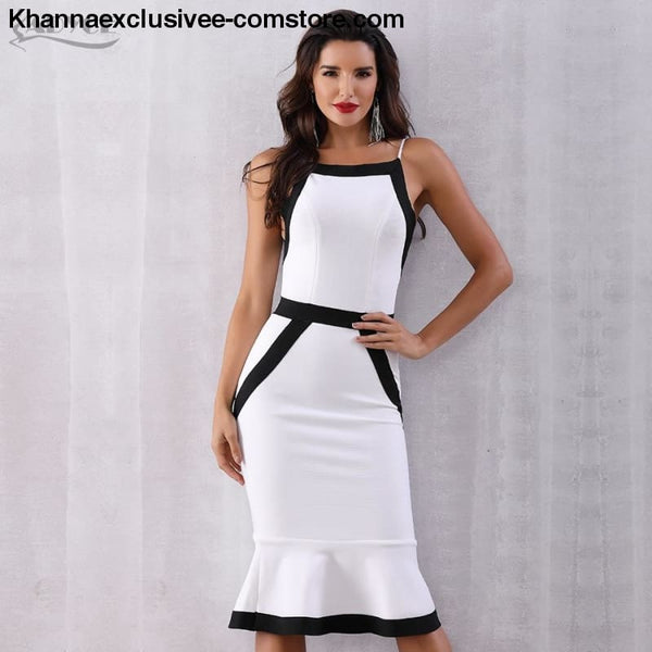 New Summer White Bandage Dress Womens Sexy Spaghetti Strap Mermaid Club Evening Party Dress - New Summer White Bandage Dress Womens Sexy