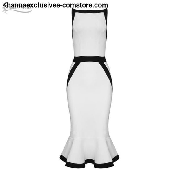 New Summer White Bandage Dress Womens Sexy Spaghetti Strap Mermaid Club Evening Party Dress - White / L - New Summer White Bandage Dress