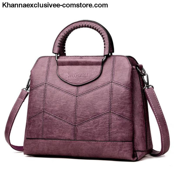 New Tote Leather Luxury Womens Designer Handbag High Quality Cross body Bag Sac a Main Ladies Purse - Purple / China - New Tote Leather