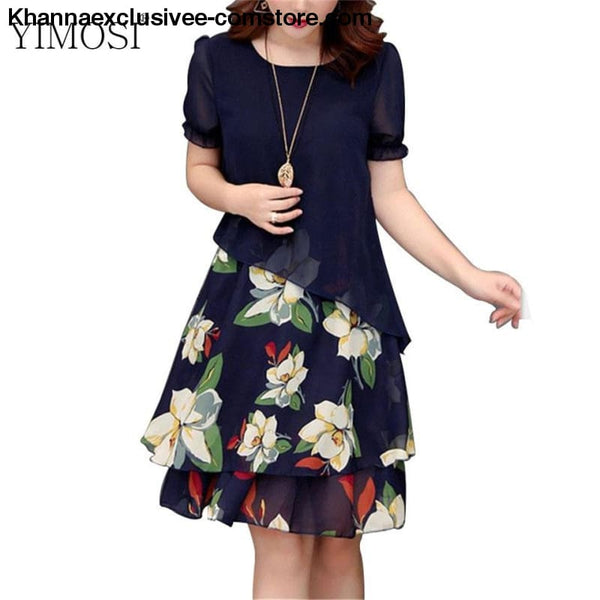 New Womens Chiffon Short Sleeve O-Neck Floral Print Elegant Party Dress Till Plus Size 5XL - New Womens Summer Chiffon Casual Short Sleeve